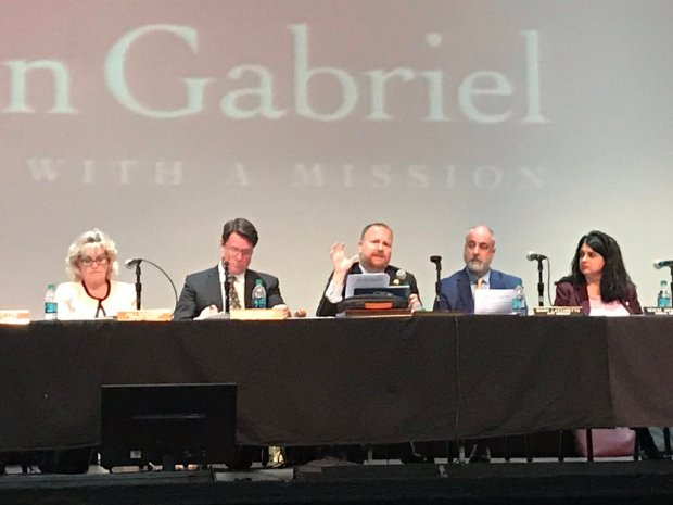 "The San Gabriel City Council moved its April 3, 2018, meeting to the San Gabriel Mission Playhouse. On the agenda was a resolution declaring San Gabriel a ""safe city."" (Julia Wick, contributing photographer/SCNG)"