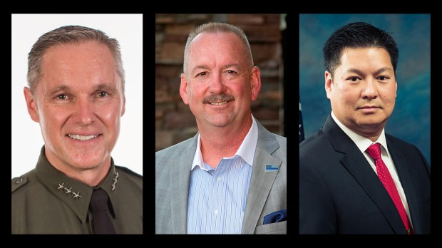 Candidates for O.C. Sheriff: Donald Barnes, left; David Harrington, center; Duke Nguyen, right.