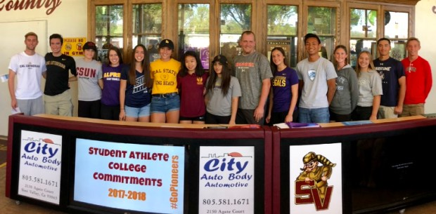 Simi Valley High had 15 student-athletes sign letters of intent on Wednesday for signing day. (Courtesy of Simi Valley High)