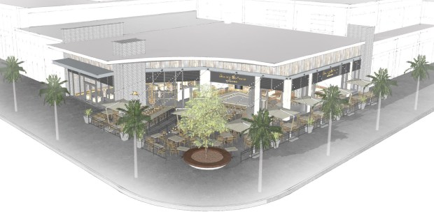 Artist rendering shows an outdoor patio wrapping around Tommy Bahama on North Palm Canyon Drive in Palm Springs. (Courtesy Tommy Bahama)