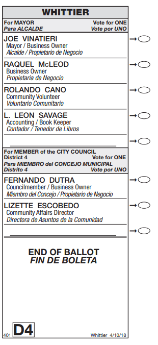 Whittier April 10, 2018 sample ballot.