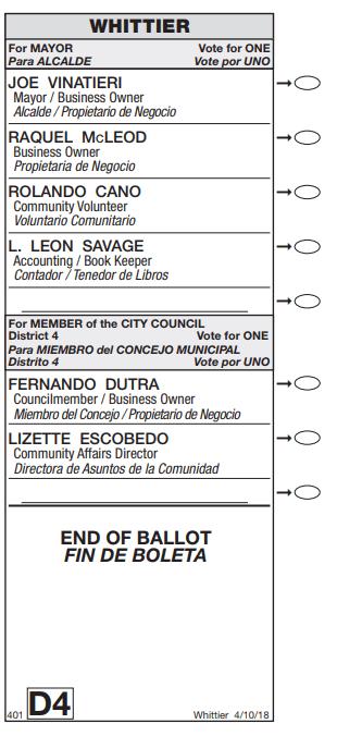 Whittier April 10, 2018 sample ballot.