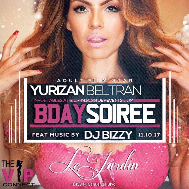 La estrella de cine porno, Yurizan Beltran, en una fotografía que colgó en su cuenta de Twitter, promocionando un evento.