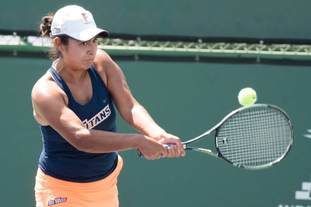 Sarah Nuno competes at the Big West Conference tennis championship tournament last month. Photo courtesy Josh Barber/Cal State Fullerton Athletics