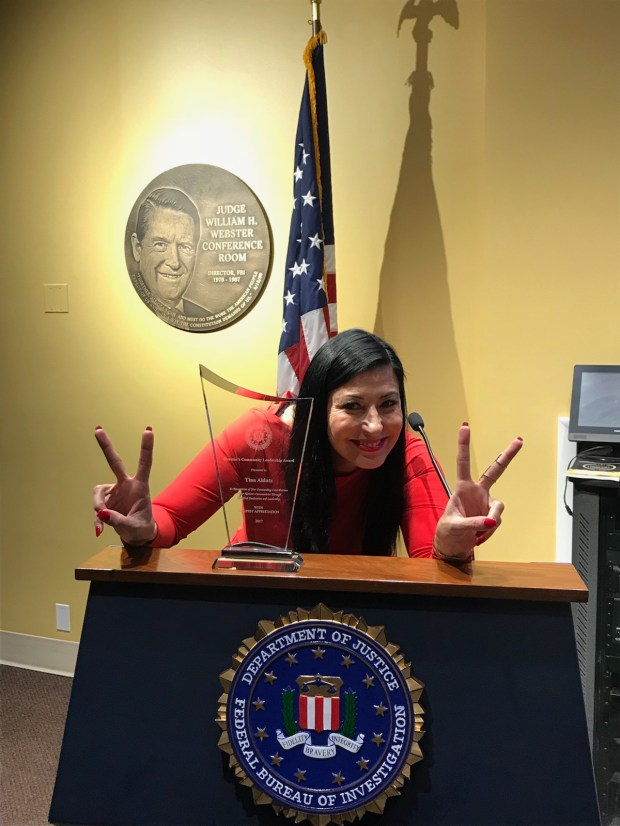 Tina Aldatz of Laguna Niguel after receiving her leadership award from the FBI on April 20, 2018 in Washington, D.C. (Photo courtesy of Tina Aldatz)