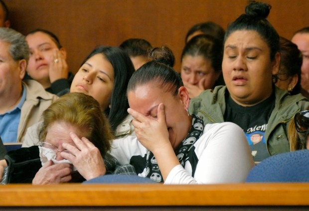 Gloria Fregoso, center, is overcome with emotion at the January 2017 sentencing of David Scott Pedersen, who killed her 19-year-old son, Joseph Labori-Romero, and a friend in a traffic accident on Pacific Coast Highway in Torrance. Pedersen was sentenced to six years in prison. Photo by Brad Graverson/The Daily Breeze/SCNG/01-23-17