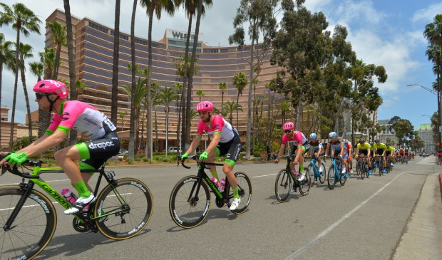 Cycling teams race down Ocean Boulevard in the first stage of the 2018 Amgen Tour of California in Long Beach on Sunday, May 13, 2018. The cyclists took 12 laps around coastal Long Beach for a distance of 83 miles. (Photo by Scott Varley, Contributing Photographer)