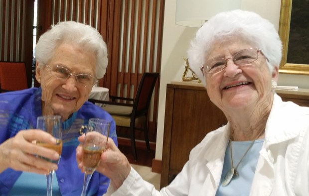 Lorraine Jorgenson of Redlands, right, celebrates with Betty Greenway, who turned 100 on April 16. Greenway, a longtime resident of Redlands, moved to Santa Rosa in 2011. (Courtesy Photo)