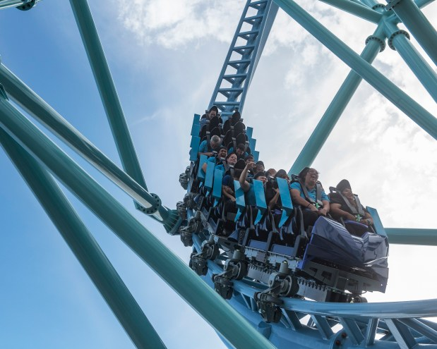 Reader careeen along the track fo SeaWorld San Diego's Electric Eel. (Photo courtesy of SeaWorld San Diego)