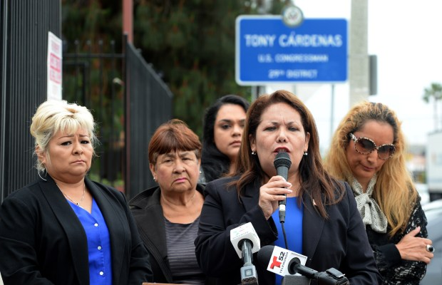 Patty Lopez talks during the demonstration. Community leaders and demonstrators held a press conference to call for the resignation of Rep. Tony Cardenas, D-Panorama City. outside his Van Nuys office on Monday, May 21, 2018. (Photo by Dean Musgrove, Los Angeles Daily News/SCNG)