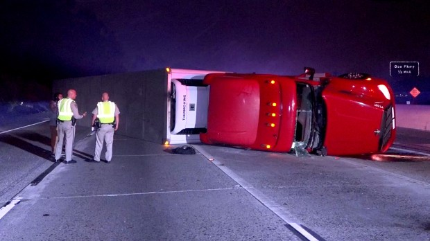 A big rig that rolled onto its side closed nearly all of the freeway lanes for about six hours on the northbound I-5 freeway in Mission Viejo Monday, May 2, 2018 near La Paz Road. (OnScene.TV)