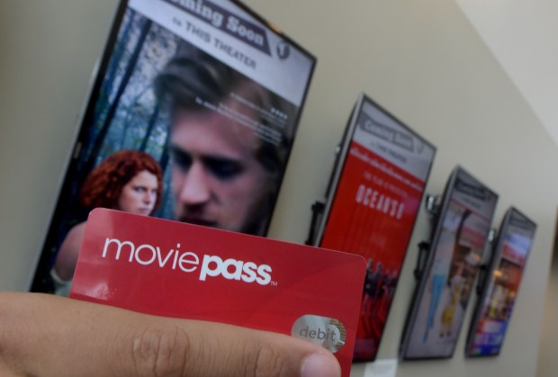 A MoviePass card, the discounted ticketing subscription service, shown at the Laemmle Theaters in North Hollywood on Thursday, May 24, 2018. (Photo by Dean Musgrove, Los Angeles Daily News/SCNG)