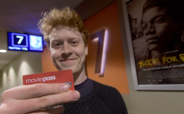Jens Josephs, from Sherman Oaks, uses MoviePass, the discounted ticketing subscription service at the Laemmle Theaters in North Hollywood on Thursday, May 24, 2018. (Photo by Dean Musgrove, Los Angeles Daily News/SCNG)