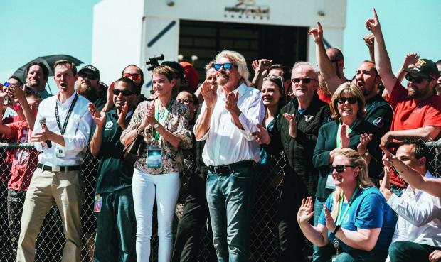 Richard Branson Welcomes VSS Unity Home from Second Supersonic Flight. May 29th 2018.