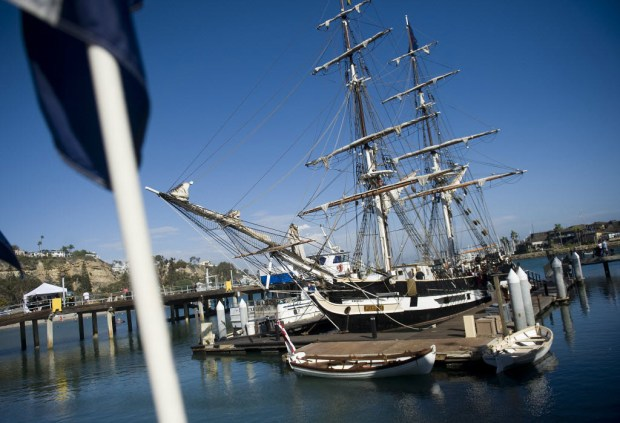 The Pilgrim, a full-size replica of the ship that Richard Henry Dana Jr. sailed to California on, is moored at the Ocean Institute in Dana Point. (File photo by Nick Agro, Orange County Register/SCNG)