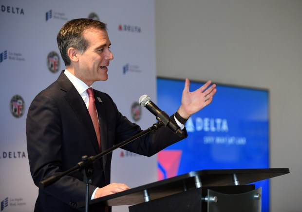 Mayor Eric Garcetti speaks during a press conference hosted by Delta Air Lines and Los Angeles World Airports  to update the public about the future state of the new airport terminal on Thursday, May 31, 2018.  The airline is investing $1.86 billion to modernize, upgrade and connect Terminals 2, 3 and the Tom Bradley International Terminal to create the Delta Sky Way at LAX.(Photo by Axel Koester, Contributing Photographer)