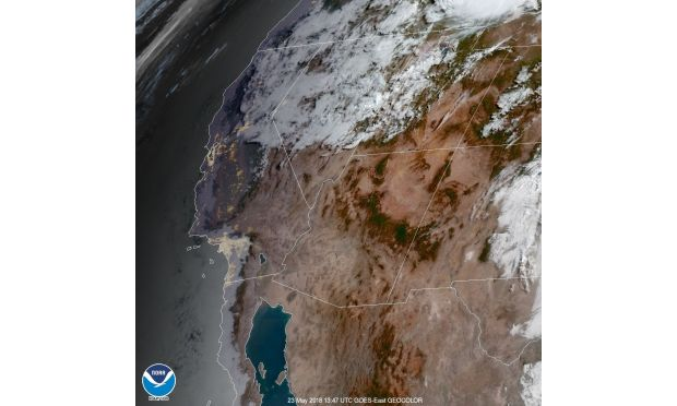 The western US is seen in a satellite image from early Wednesday, May 23, 2018. (Image courtesy of the National Weather Service)
