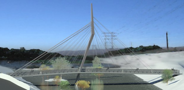 The North Atwater Multimodal Bridge, which will allow horses, cyclists and pedestrians to cross the Los Angeles River between Atwater Village and Griffith Park, is slated to be completed by late 2019. (Architectural rendering courtesy of the Los Angeles County Regional Park and Open Space District)