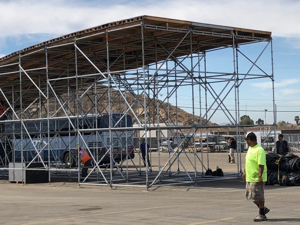 One of the landing ramps that Travis Pastrana is preparing to practice on in the Inland Empire over the next week and a half. (Photo by David Downey, Staff)