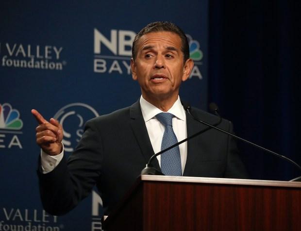 Democratic gubernatorial candidate Antonio Villaraigosa speaks during a debate at the California Theatre, Tuesday, May 8, 2018, in San Jose. (Aric Crabb/San Jose Mercury News-Bay Area News Group via AP)