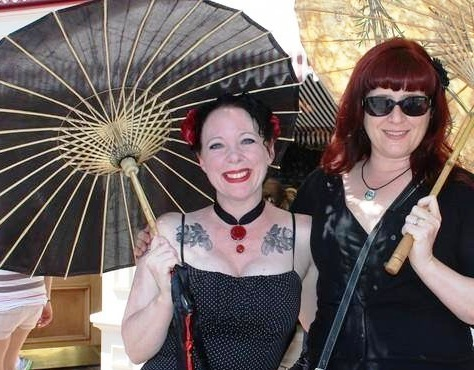 "Sabella Dziabczenko and Alison Middlecamp at a Disneyland ""Bats Day"" event. Photo courtesy of Sabella Dziabczenko.="