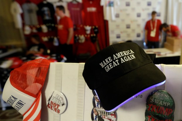 In this Saturday, May 5, 2018 photo, items sit for sale during the California Republican Party convention in San Diego. California Republicans hoping to break a long losing streak are betting that anger over higher gas taxes and illegal immigration will give them an edge in races for governor and other marquee offices. (AP Photo/Gregory Bull)