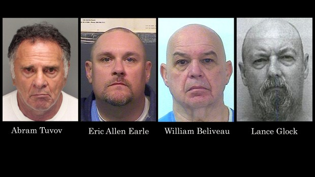 Abram Tuvov, Eric Allen Earle, William Beliveau and Lance Glock, from left. (Photos Courtesy Palm Springs PD, California Department of Corrections and Rehabilitation and Megan's Law file)