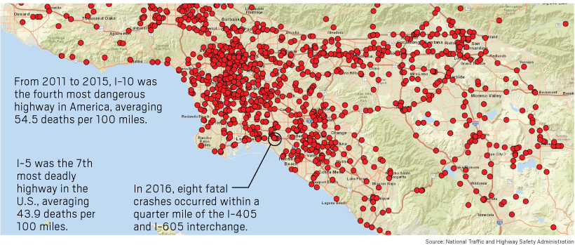 La Freeway Traffic Map.Where Southern California S Many Deadly Vehicle Crashes Occur