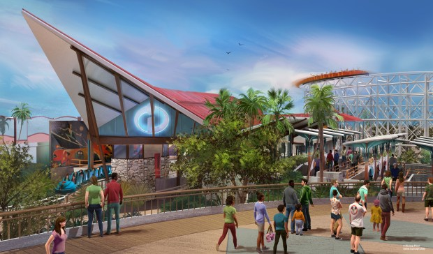 Artist rendering of the new Incredicoaster designed for the new Pixar Pier in Disney California Adventure
