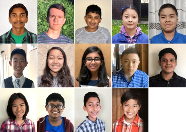 Southern California spellers who correctly spelled words in Rounds 2 and 3 are: first row, from left, Rahul Naveen, 14, Galen Cholbi, 13, Dean Alkhairy, 12, Grace Liang, 15, and Cody Nguyen, 12; second row, from left, Nicholas Lee, 14, Medina Miranda, 13, Aisha Randhawa, 12, Winston Zuo, 13, and Ryan Uc, 14; third row, from left, Una Alesandra Santos, 14, Hrishikesh Krishna, 12, Umar Aziz, 13, and Ayle Guevarra, 11. Courtesy of Scripps National Spelling Bee