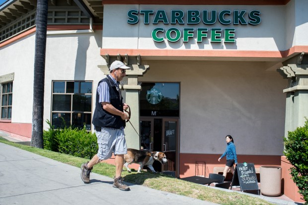 "Starbucks in La Canada Flintridge was tagged with ""BNR??"" on Wednesday, May 16, 2018, after a Starbucks patron received two coffee cups with the term ""Beaner"" on Tuesday. (Photo by Sarah Reingewirtz, Pasadena Star-News/SCNG)"