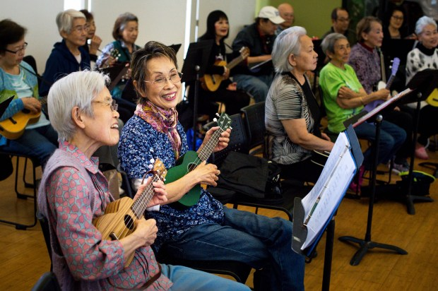 Sugako Yamamoto and her friend Yukiko Yamamoto practice with Ukes for Little Tokyo at the Japanese American Cultural and Community Center on Thursday, April 26, 2018. The weekly Japanese language ukulele class for seniors is in its second year at the JACCC. (Photo by Sarah Reingewirtz, Pasadena Star-News/SCNG)