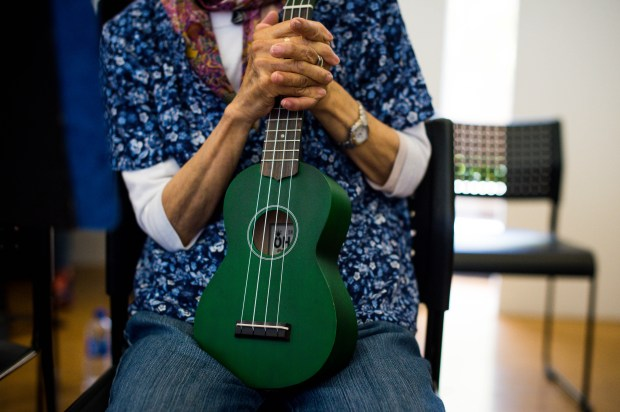Yukiko Yamamoto practices with Ukes for Little Tokyo at the Japanese American Cultural and Community Center on Thursday, April 26, 2018. The weekly Japanese language ukulele class for seniors is in its second year at the JACCC. (Photo by Sarah Reingewirtz, Pasadena Star-News/SCNG)