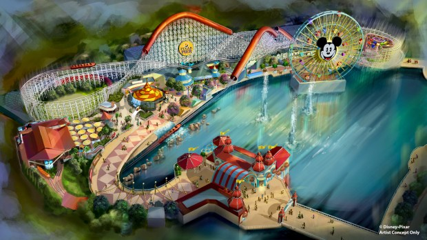 Artist conceptual drawing of the new Pixar Pier area at Disney California Adventure. Courtesy of Disney 2018.