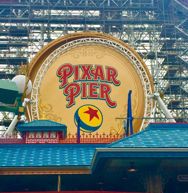 New paint job on the loop of the coaster at Pixar Pier. Photo by Marla Jo Fisher, May 9, 2018