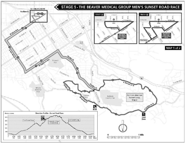 The Redlands Bicycle Classic's Sunset Road Race is set for Sunday May 6, 2018. (Courtesy map)