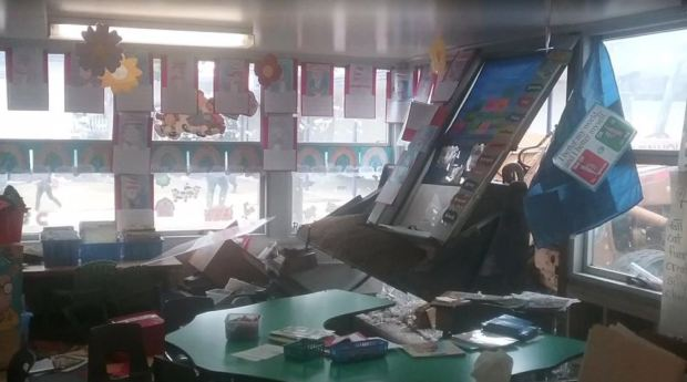 A tractor crashed through a kindergarten classroom window on Wednesday, May 2, 2018. Students were in the classroom, but no one was hurt.