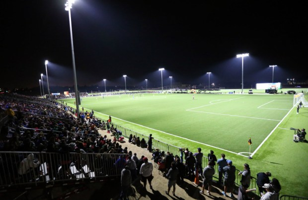 A large crowd watches a women's soccer exhibition between UCLA and the Seattle Reign at the SilverLakes Complex in Norco in April 2017. (File photo by Mark Dustin, contributing photographer)