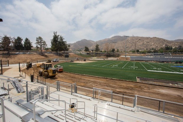 The new football-soccer stadium at Canyon Springs High School in Moreno Valley is nearing completion, just in time for the June 6 graduation ceremony. (Photo by Andrew Foulk, contributing photographer)