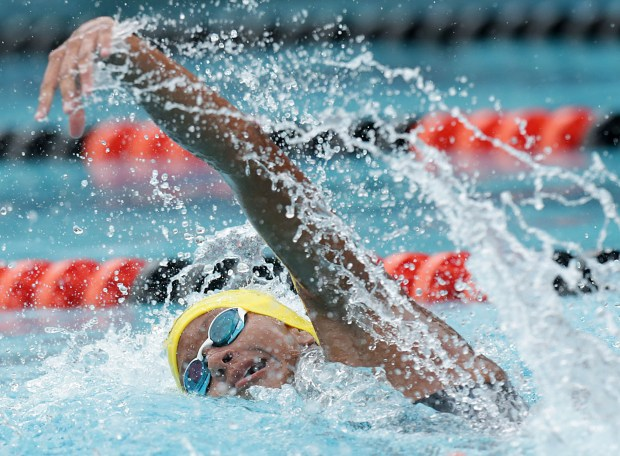 Grand Terrace's Destany Lewis swims in the 100 yard freestyle during the CIF Southern Section Division 4 swimming finals at Riverside Aquatics Center Thursday in Riverside, Calif. May 11, 2018. (TERRY PIERSON,THE PRESS-ENTERPRISE/SCNG)