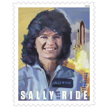 Sketched first in charcoal and then rendered in oil paint, artist Paul Salmon of Burke, VA, features Sally Ride. (Photo by Erik Jepsen/UC San Diego Publications).