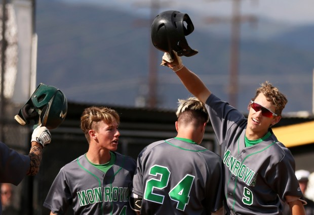 Monrovia's Logan Barnier celebrates after hitting a grand slam against Northview during the CIF-SS Division 4 quarterfinals at Northview High School in Covina, Calif. on Friday, May 25, 2018. Monrovia defeated Northview, 9-6.  (Correspondent photo by Trevor Stamp)