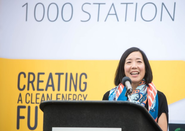 SCE Regulatory Affairs Senior Vice President Caroline Choi dedicates Southern California Edison's 1,000 electric vehicle charger in South El Monte High School's parking lot on Wednesday, May 30, 2018. SCE's Charge Ready program pairs with workplaces, multi-unit dwellings, destination centers and fleet operators in the installation of EV chargers. (Photo by Sarah Reingewirtz, Pasadena Star-News/SCNG)