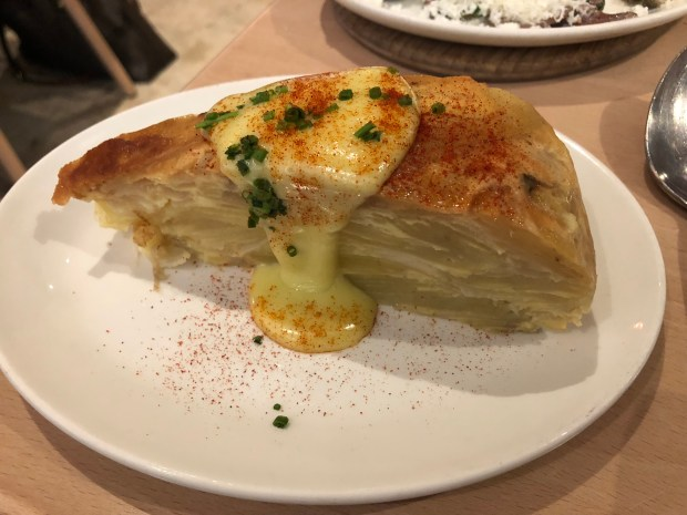 Tortilla Espanola contains potato, egg, onion and aioli cake at Gabi James in Redondo Beach. (Photo by Merrill Shindler)