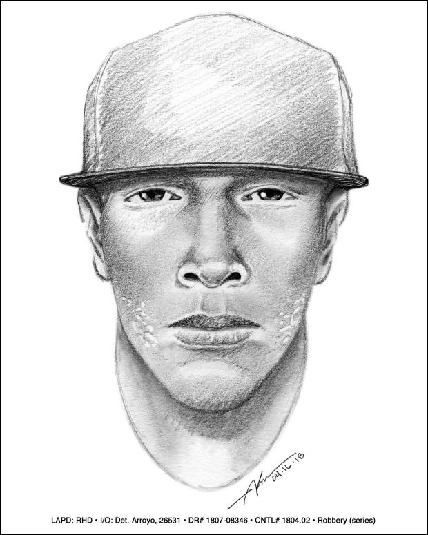 On Wednesday, May 2, 2018, LAPD released a sketch of a man suspected of armed robberies at Trader Joe's markets in Los Angeles, Long Beach, Culver City and Irvine. Police described the suspect as a male between 25 and 35 years old, with medium height and weight. The LA City Council on Wednesday, May 2, 2018, approved a $15,000 reward for information leading to the suspect's arrest and conviction. (Courtesy photo)