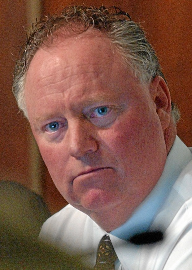 Former Upland Mayor John V. Pomierski at a February 2005 city council meeting. (File photo by Marc Campos)