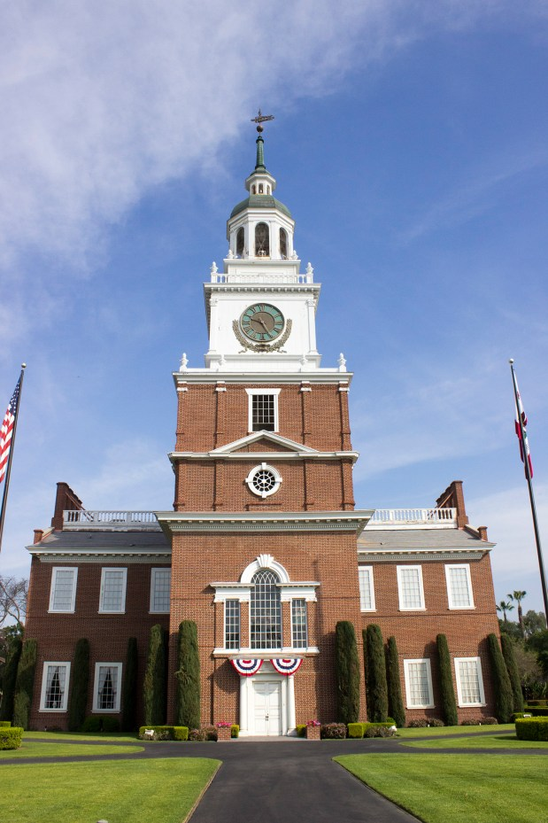 The full-scale replica of Philadelphia's Independence Hall was dedicated on July 4, 1966, across the street from Knott's Berry Farm. (File photo)