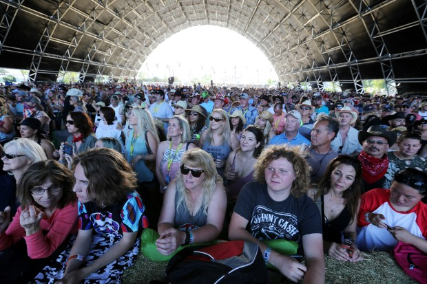 "Scenes for the upcoming remake of ""A Star Is Born"" starring Bradley Cooper and Lady Gaga were filmed at the Palomino Tent at the Stagecoach Country Music Festival at the Empire Polo Club in Indio in 2017. The Palomino Tent shown here as fans watch as The Zombies perform earlier that weekend. (File Photo by Frank Bellino)"