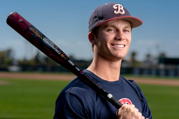 Matt McLain of Beckman is a senior who plays shortstop and has signed with UCLA in Irvine on Monday, May 14, 2018 is one of three McLain brothers playing for Beckman as the team goes into the CIF-SS playoffs as one of the favorites to win the CIF-SS Division 2 title.  (Photo by Leonard Ortiz, Orange County Register/SCNG)