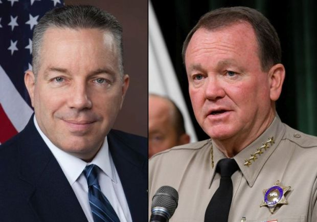 Retired LA County sheriff's Lt. Alex Villanueva, left, and current LA County Sheriff Jim McDonnell will face off in a November 2018 runoff election. (Courtesy photo of Villanueva, Daily News staff photo of McDonnell)